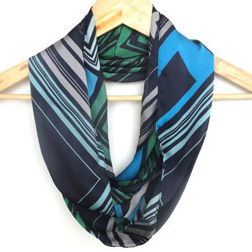 chevron summer fashion infinity scarf, girly loop circle scarves,navy blue green gray aqua .... colorful