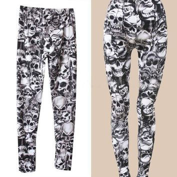 LMFON 2016 New Arrival Brand Fashion Gothic Punk Rock Skull Printed Leggings For Women Girl Leggings Women's Clothing