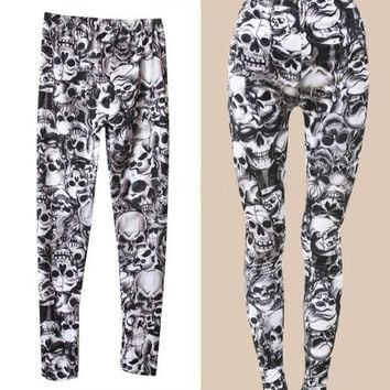 ONETOW 2016 New Arrival Brand Fashion Gothic Punk Rock Skull Printed Leggings For Women Girl Leggings Women's Clothing