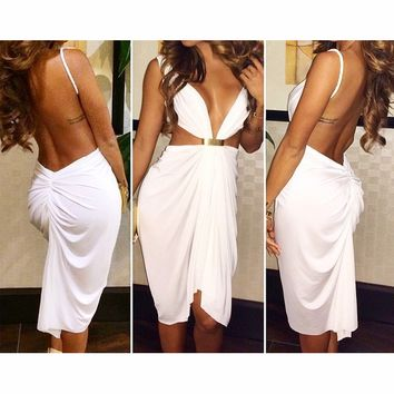 SEXY FASHION BACKLESS DEEP V DRESS