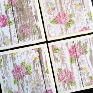 White Distressed Wood Coasters, Tile Coasters, Coasters, Rustic Coaster, Wood Floral Coaster, Drink Coaster, Tile Coaster, Coaster Set of 4