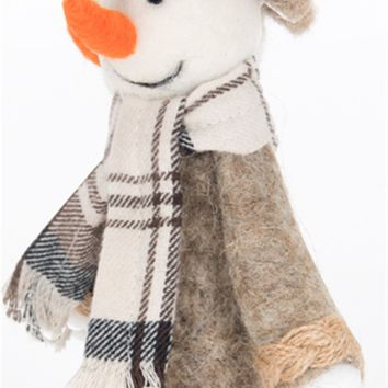 Wool Snowman with Scarf
