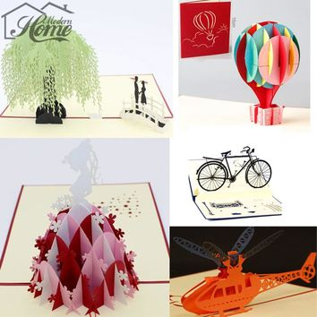 Heart Ballon Bike 3D Pop Up Greeting Card Postcard Matching Envelope Laser Cut Handmade Birthday Post Card Valentines Day Gift