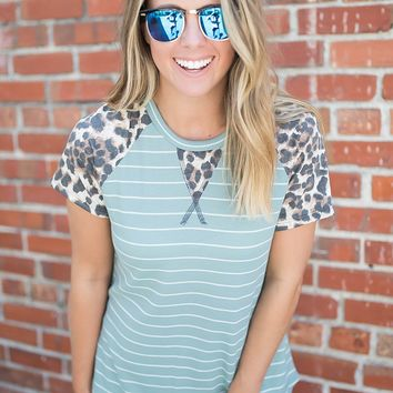 Mint To Leopard Top