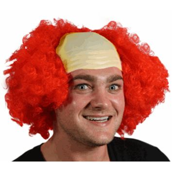 Red Hair Bald Clown Cap
