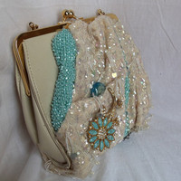Beaded Purse white and turquoise handbag by HopscotchCouture