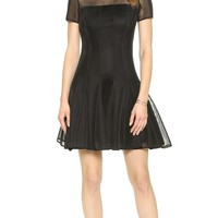 DKNY Short Sleeved Seamed Dress