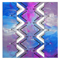 Original abstract painting on canvas. 24x24 Geometric with purple, blue, lavender, magenta. Canvas art. Modern painting. Purple painting.