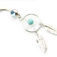"""316l Surgical Steel 14g 7/16"""" Crystal Dream Catcher Belly Navel Barbell Ring Body Jewelry + 1 Retainer"""