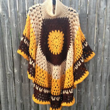 Brown Tones Poncho Crochet Circular Asymmetric Poncho Shawl  Beige Gold and Brown Handmade Poncho Ready To Ship