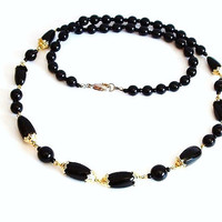 Ebony Black Bead Necklace Vintage Jewelry Black and Gold Long Length