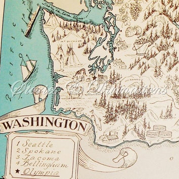 Fun Washington State Map - Vintage Map - Aqua - Cottage Chic - A Fun and Funky 1930s Picture Map of Washington to Frame