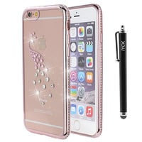 iPhone 6S Case, iYCK Electroplated Crystal Clear Soft Flexible TPU Rubber [Studded Full Frame and Back] Diamond Bling Rhinestone Protective Back Case Cover for iPhone 6/6S 4.7 inch - Rose Gold Peacock