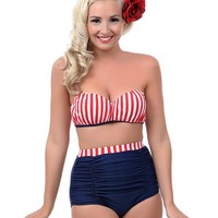 Unique Vintage Red White & Blue High Waist Bikini Bottom