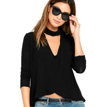 Women Sexy Turtle Neck Cutout at Bust Crop Top Ladies T-shirt Mock Neck Dip Hem Long Sleeve Tops Clothes SM6