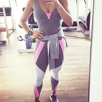 New Grey Patchwork Cut Out Lace-Up Deep V-neck Bodycon Sports Casual Long Jumpsuit
