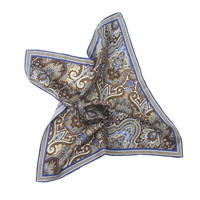 Brown & Blue Paisley 100% Silk Hand Rolled Pocket Square