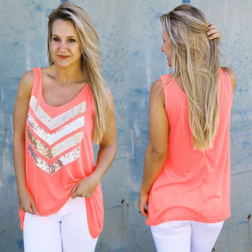 Coral Chevron Sequins Tank Top
