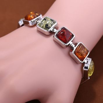 Vintage Natural Square Amber 925 Silver Overlay Bead Bracelet Creative Party Jewelry Gifts
