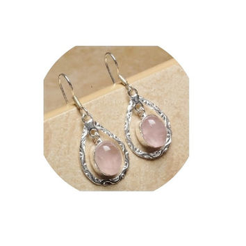 Rose Quartz Earring , Sterling Silver Earrings