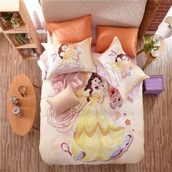 Beauty and the beast Bedding Sets Cartoon 3D Quilt Cover 3/4/5pc Cotton Twin Queen Sizes Princess Girls Kids Bedroom
