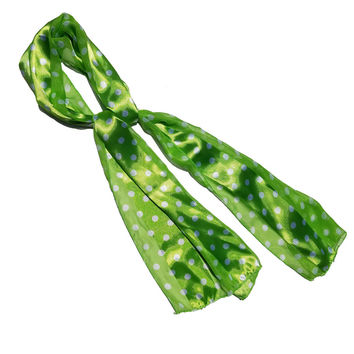 Green Polka Dot Retro Chiffon Oblong Scarf