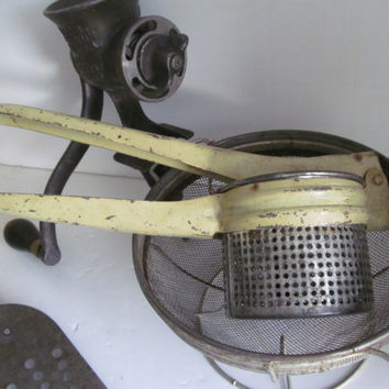 Farmhouse Primitive Kitchen Utensil Potato Ricer Yellow Handle Utensil Rustic Wares Pastel Yellow Kitchen Decor