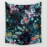 Night Garden Wall Tapestry by RIZA PEKER