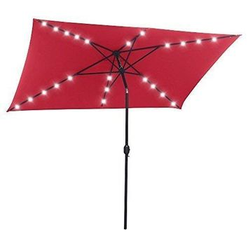 SNAIL 6.5' X 10' Rectangular Solar Powered Tilting Patio Umbrella with 22 Solar Powered LED Lights, Fade Resistant 200g Polyester Canopy, Red