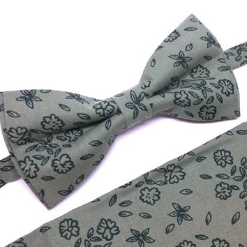 Light Green Floral Bow Tie and Pocket Square Set, Wedding Bow Tie, Man Bow Tie, Mens Bow Tie