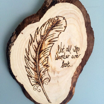 Feather wood burned wall decor!