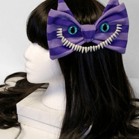 Alice and Wonderland Purple Striped Cheshire Cat Hair Bow - Made to Order