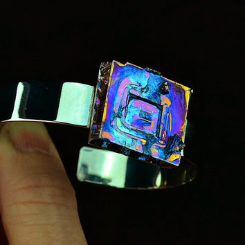 Hurricane Cube, Bismuth Crystal Bracelet,  Colorful, Iridescent, Beautiful Unique Metal Jewelry