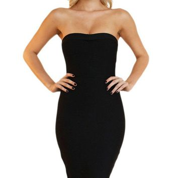 My Mind On Your Body Bandage Strapless Fishtail Ruffle Zip Back Bandage Bodycon Midi Dress - 4 Colors Available