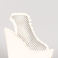 Perforated Strappy Open Toe Platform Wedge Bootie
