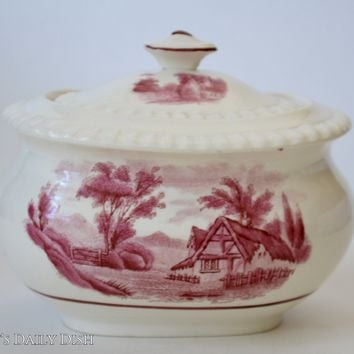 Pink Red Transferware Sugar Bowl Spode Copeland Rural Scenes Thatched English Cottage