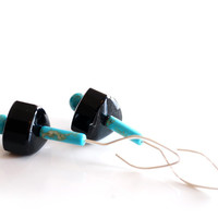 Turquoise and black onyx earrings in sterling silver with unique handmade ear wires, art deco long blue earrings, long turquoise earrings