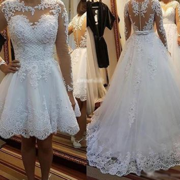 Two In One Wedding Dresses Bow Pretty Pearls Beads Embroidery Appliques Custom Made A line Wedding Dress