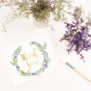 Hand Painted Leaves Wreath Blank Thank you card template digital printable instant download file floral berries greeting card