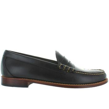CREYONIG Bass Weejuns Larson - Dark Grey Leather Classic Penny Loafer