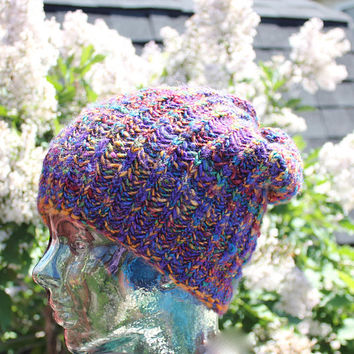 Jewel Spectrum KNIT slouchy/beanie hat from 50/50 Superwash Merino / Tussah Silk hand spun yarn/ chemo cap/ Melted Crayons - Ready to ship