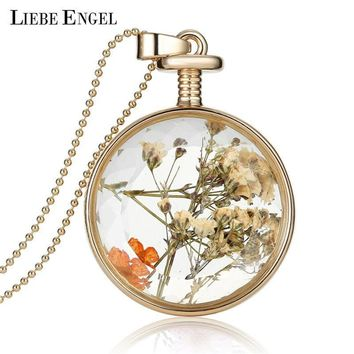 Women Vintage Gold Dried Flowers Glass Pendant And Long Chain