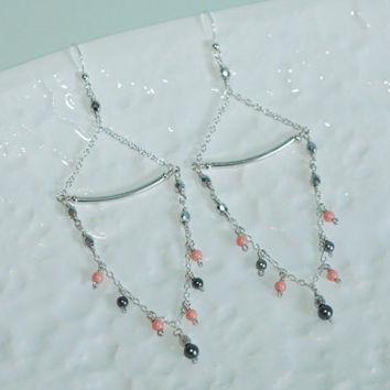 Long Swarovski Crystal Pearls Dangle Sterling Silver Earrings Kaya Jewelry
