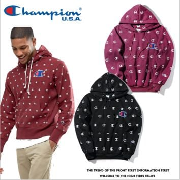 Champion printed hoodies large embroidered sweater Men and women couples Harajuku wind velvet jacket