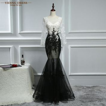 YIDINGZS Sexy Prom Dress 2017 Long Sleeve Black Champagne Appliques Beaded Mermaid Dresses