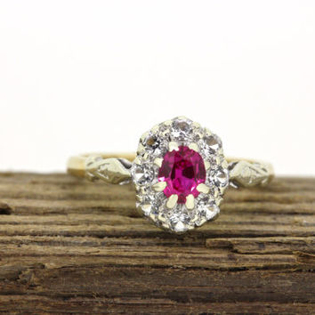 Dainty Halo Promise Ring | 9k Yellow Gold Ring | English Ring | Ruby Gemstone Ring | Antique Cluster Ring | Engagement Ring | Size  5 3/4