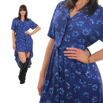 Vintage Floral Mini Dress high low blue Fishtail Grunge button down short sleeve sundress Hipster Skater  Deep V plunging Medium