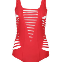 Red Cut-Out Detail Monokini