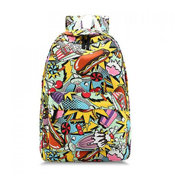 Retro Elements Print Satchel Backpack