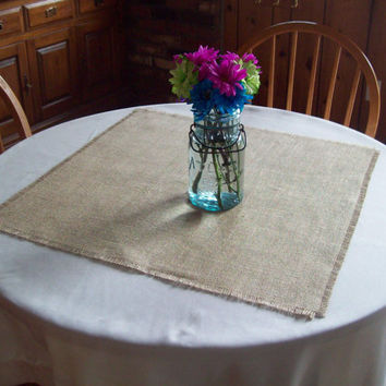 Wedding Burlap Table Squares 24 x 24 - Table Overlays - Set of 8